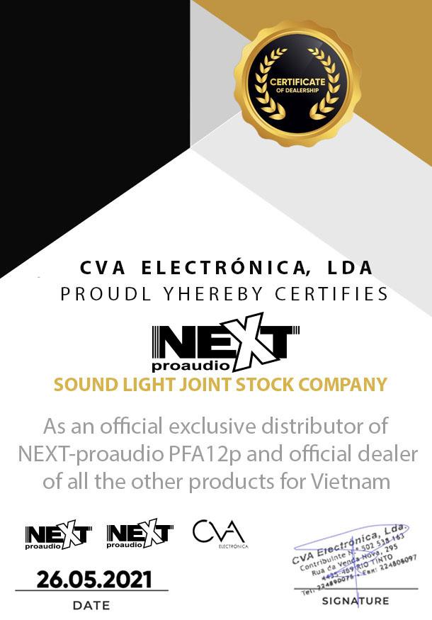 Chứng nhận phân phối độc quyền sản phẩm của Next Proaudio