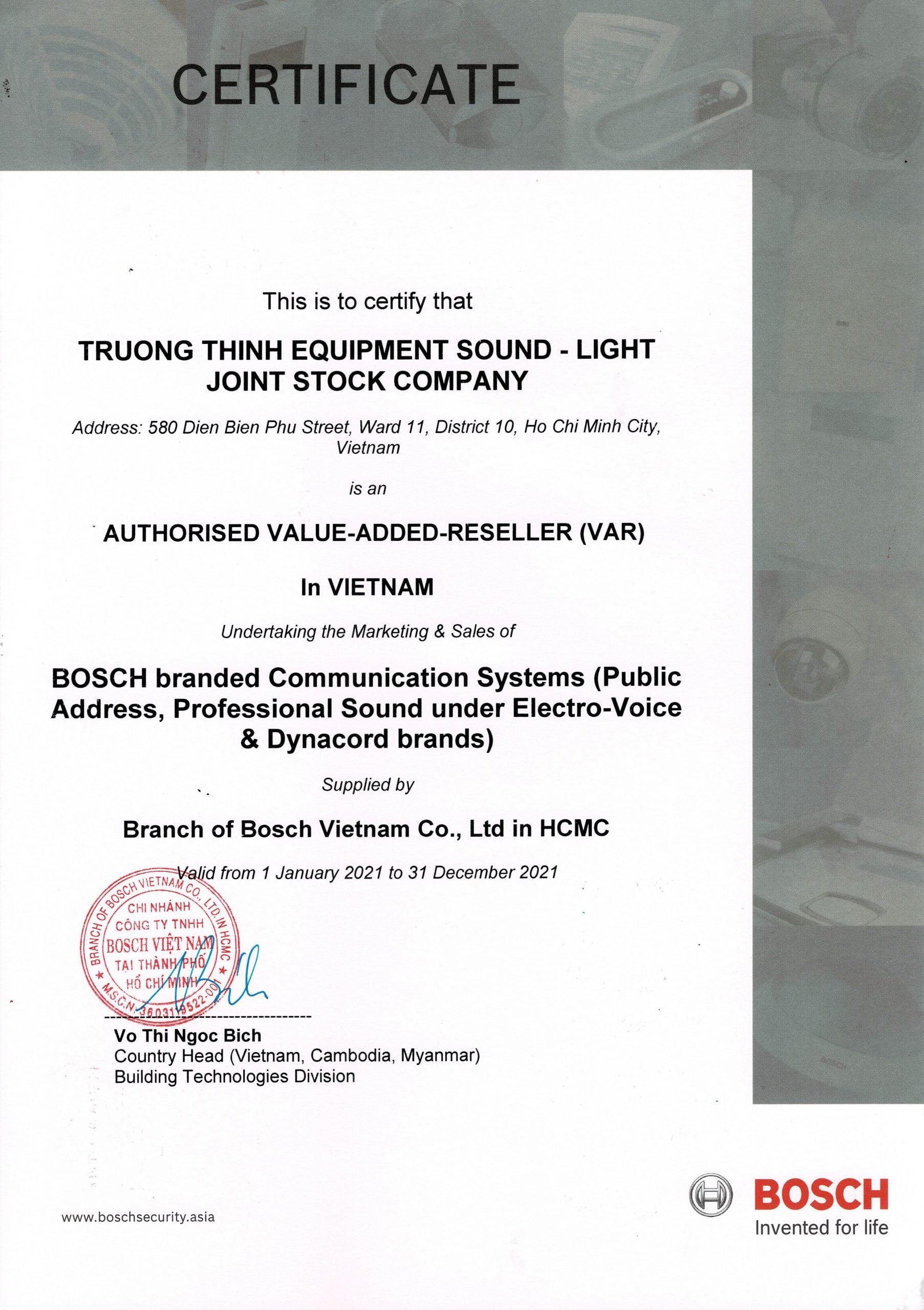 Chứng nhận phân phối Bosch